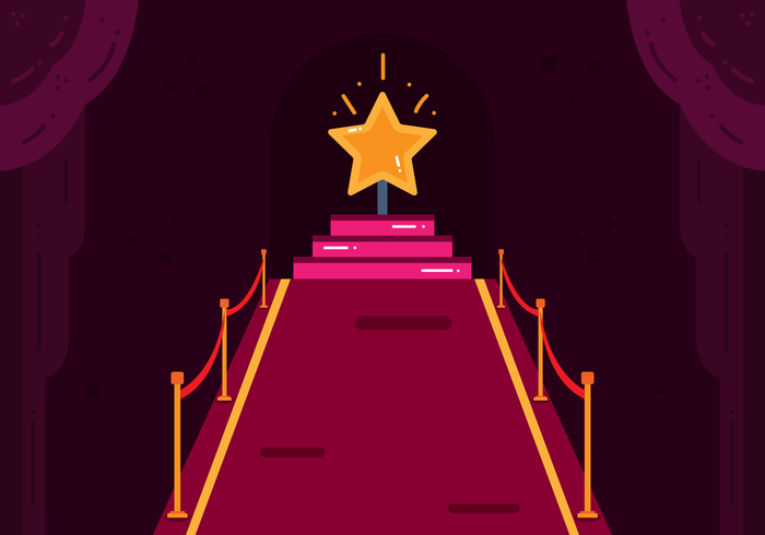 Hollywood Red Carpet Vector.