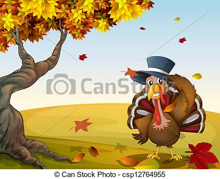 Clipart Vector of A turkey in an autumn scenery.