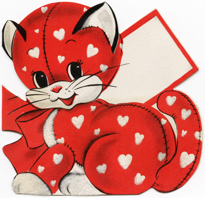red kitten valentine, vintage valentine clip art, cat with white.