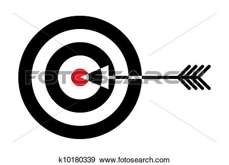 Clip Art of Target with red centre and arrow in the middle.