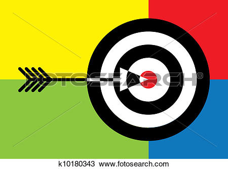 Clipart of Target with red centre and arrow in the middle.