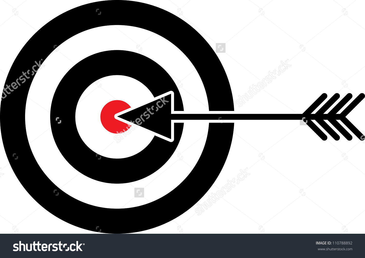 Target With Red Centre And Arrow In The Middle.