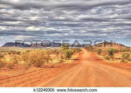 Stock Image of Outback Travel, Red Centre of Australia, dirt road.