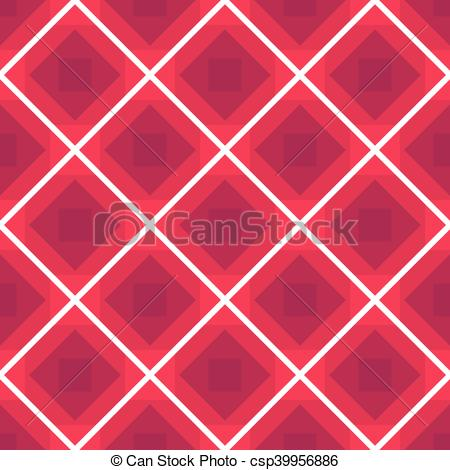 Seamless checkered tablecloth vector background with rhombus pink color  pattern.