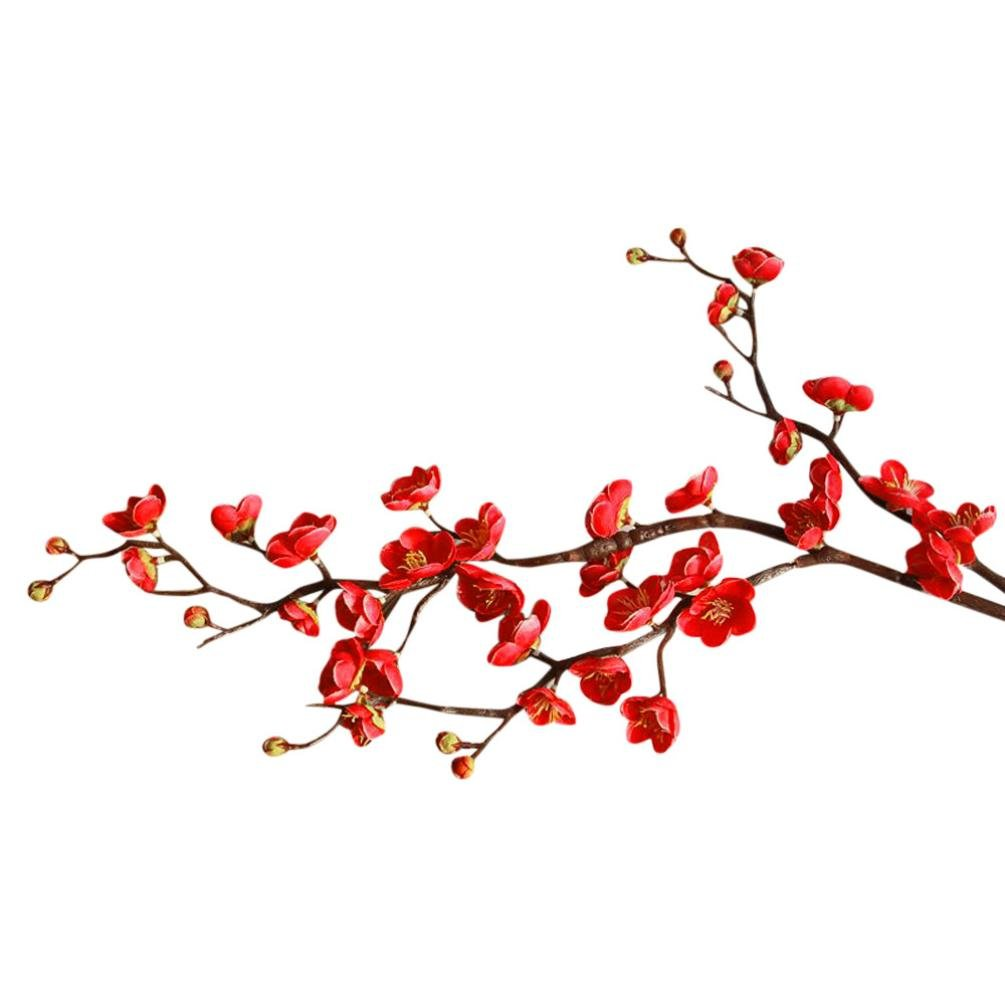 CYCTECH® Artificial Silk Cherry Blossom Branches Flowers Stems Fake Flower  Arrangements for Home Wedding Decoration (Red).