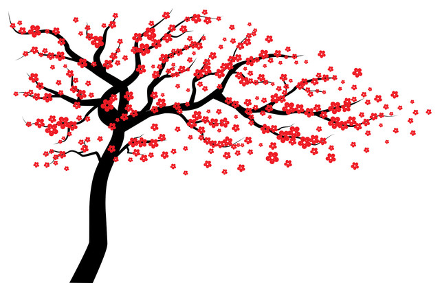 Red Cherry Blossom Tree Wall Decal, Wall Tree Decal, Tree Wall Decal.