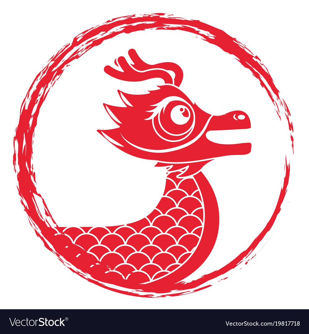 Drawing red chinese dragon symbol.
