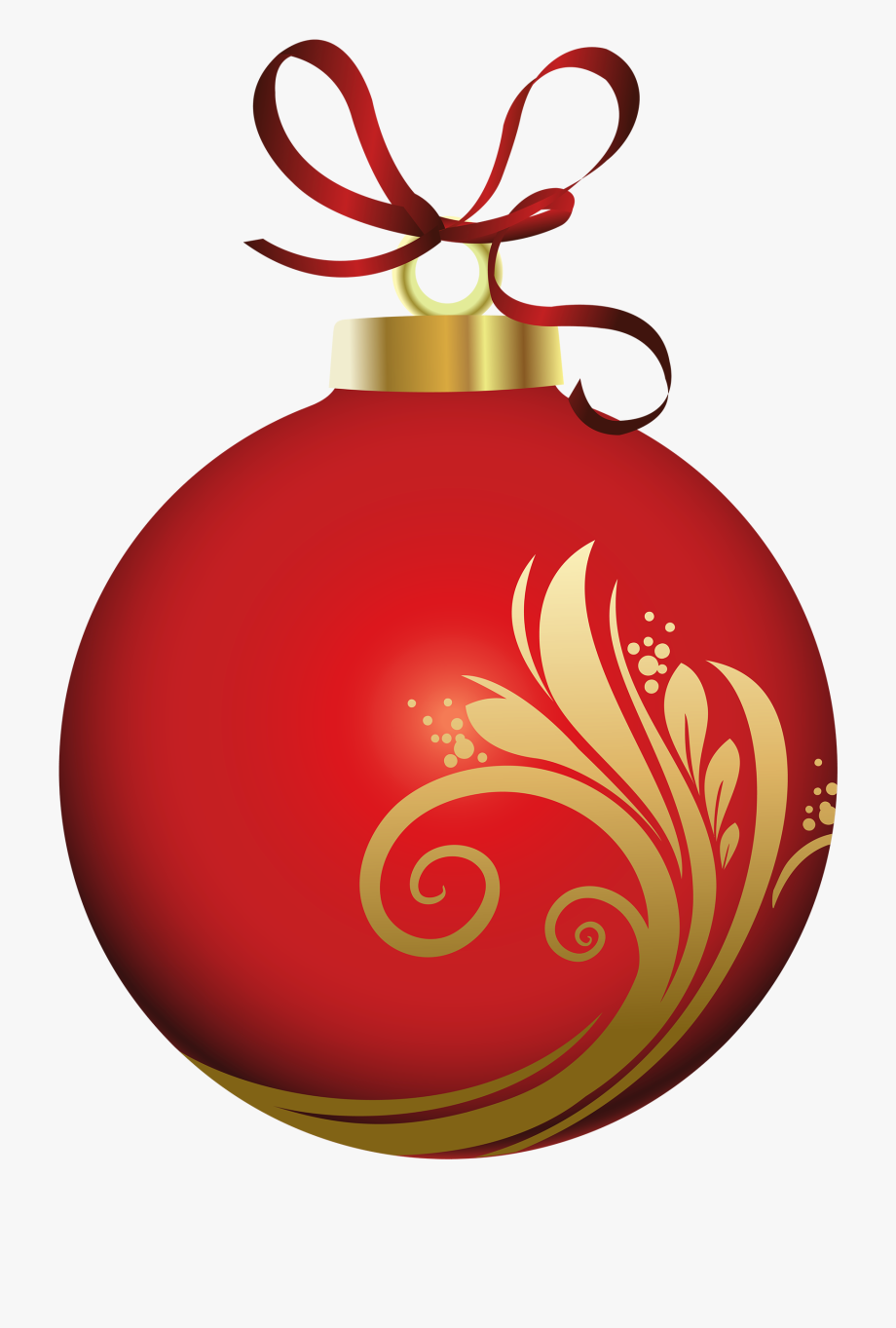Red Christmas Ball With Decoration Png Clipart.