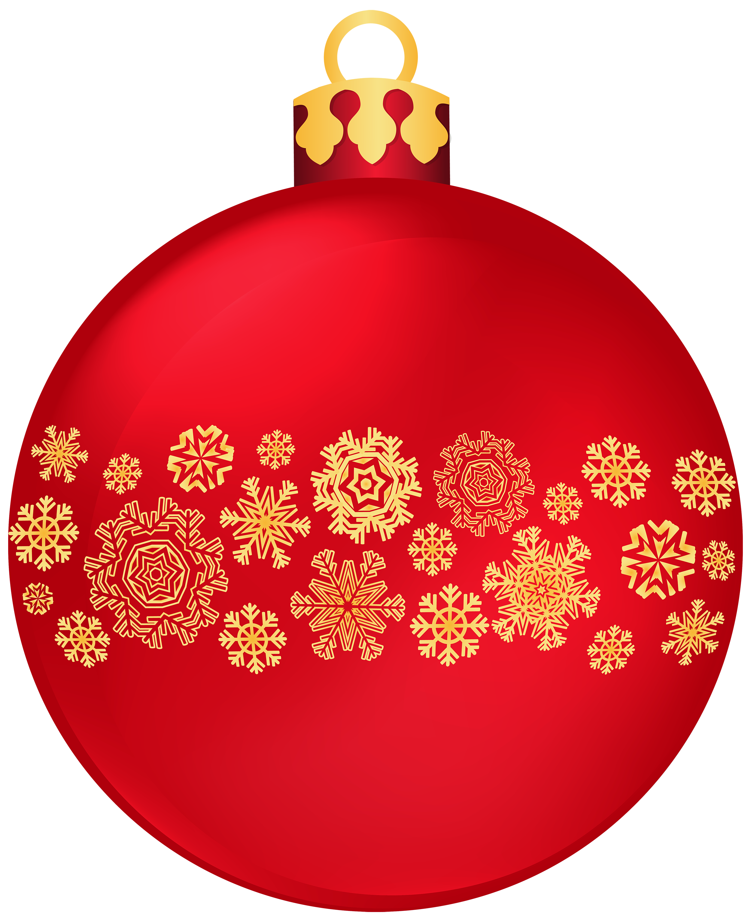 Red Christmas Ball with Snowflakes PNG Clipart.