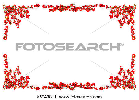 Stock Photography of Christmas border with red berries k5943811.