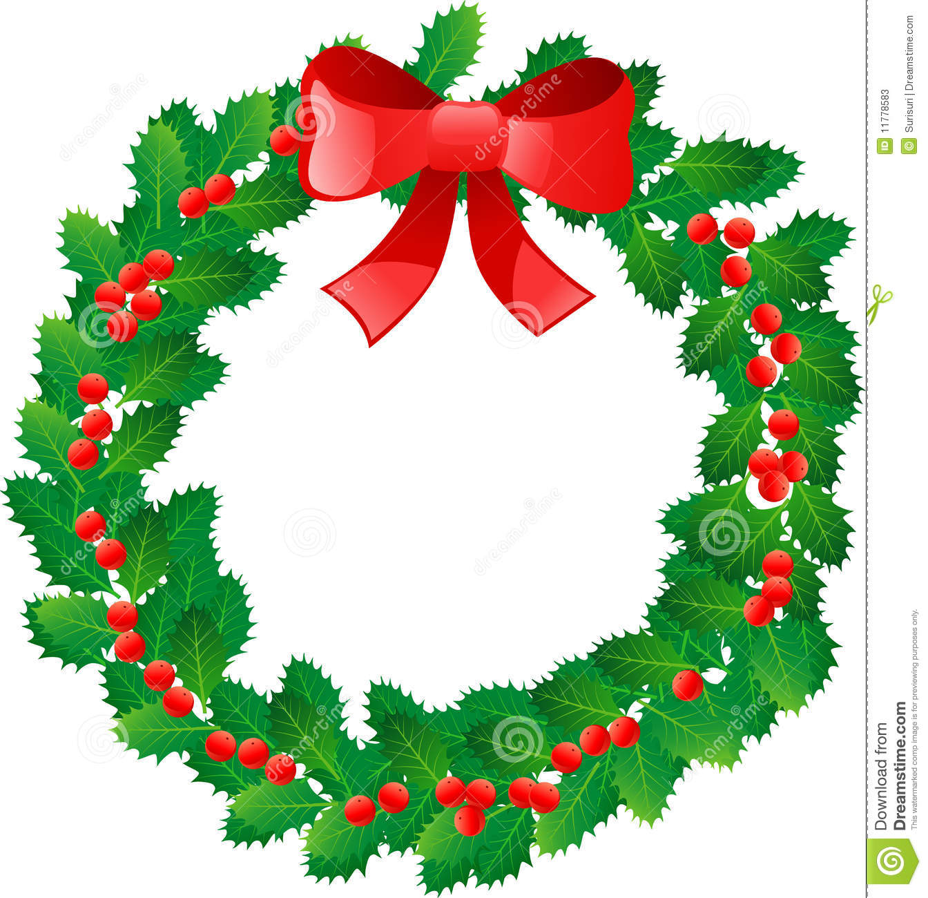 Beautiful Christmas Wreath With Red Berries Isolated On White.