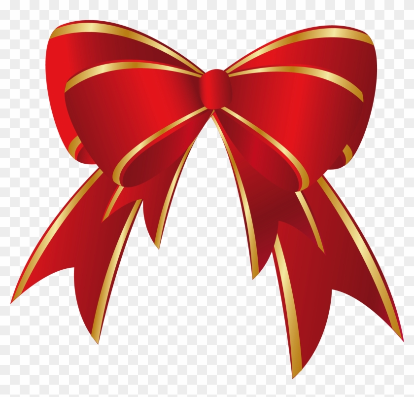 Christmas Red Gold Bow Png Clipart.
