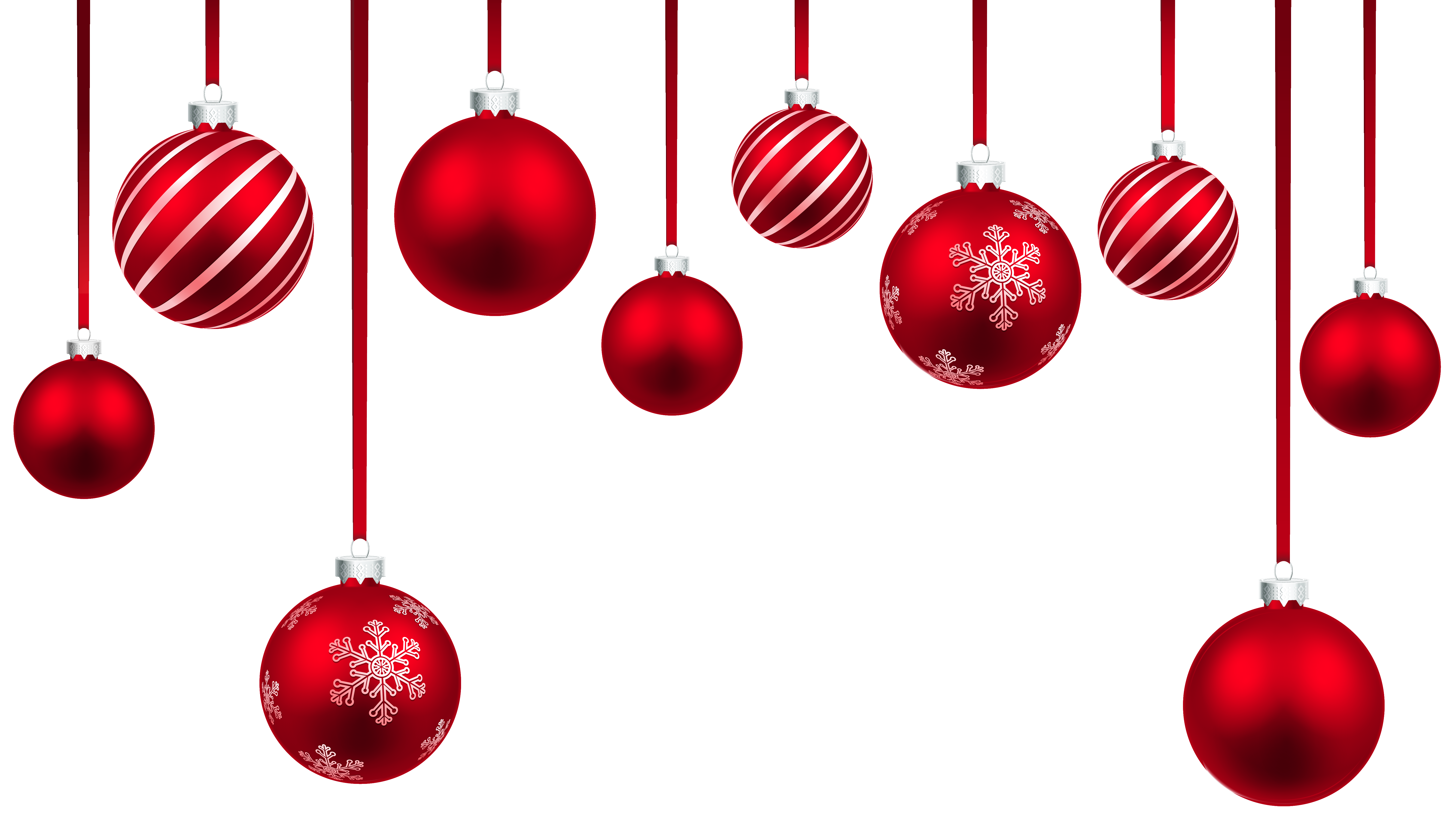 Red Christmas Hanging Balls Decor PNG Clipart Image.