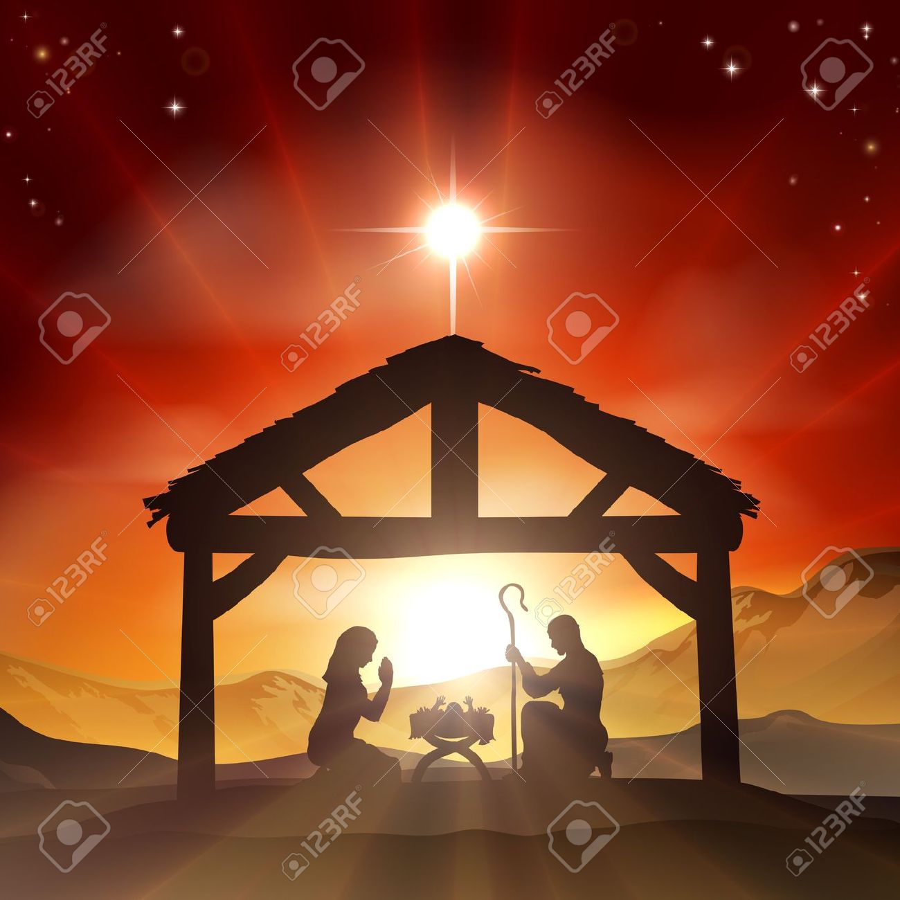 Red Christmas Nativity Clipart.