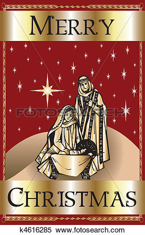 Clipart of Merry Christmas Red Nativity k4616285.