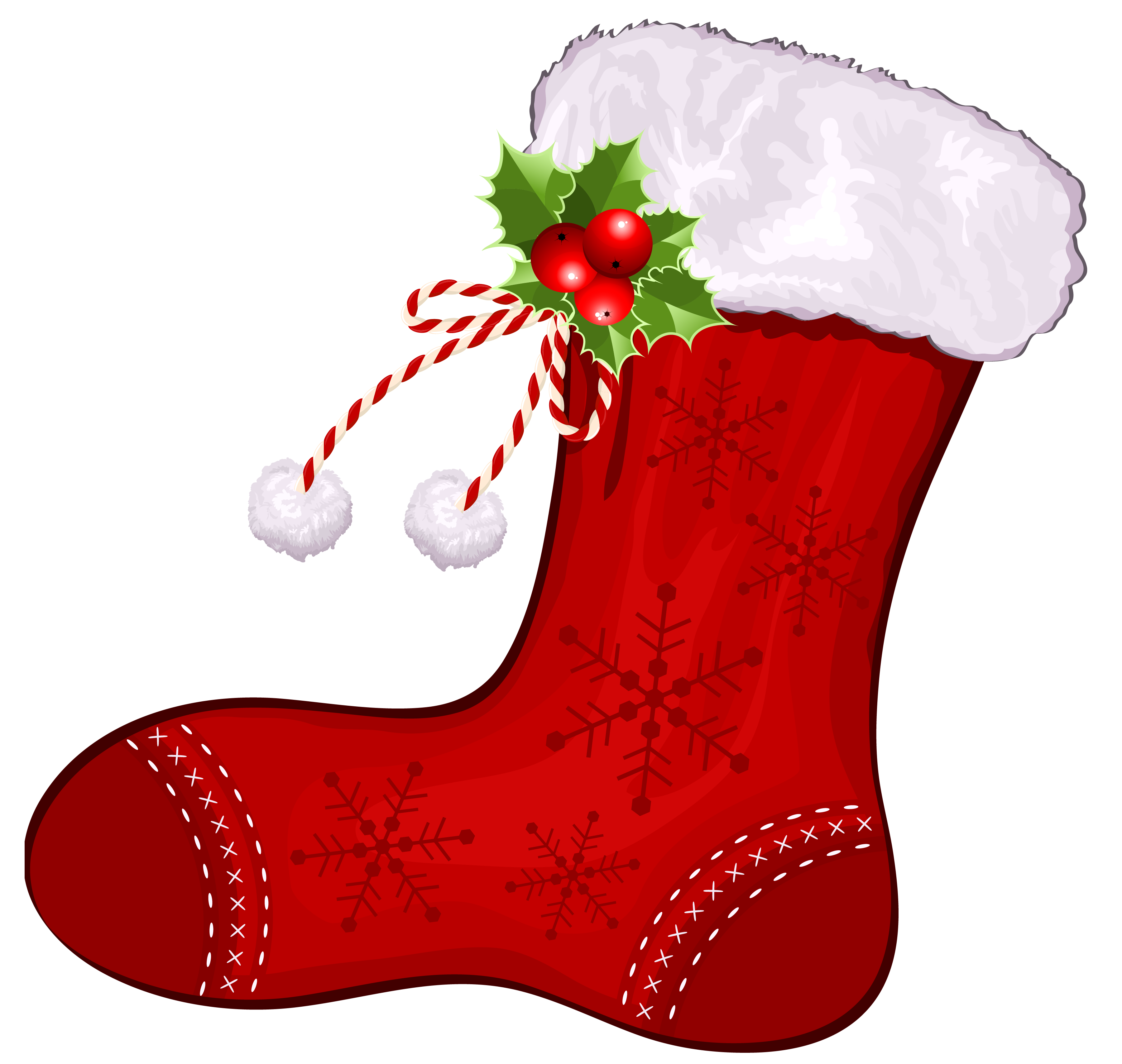 Large Transparent Christmas Red Stocking PNG Clipart.