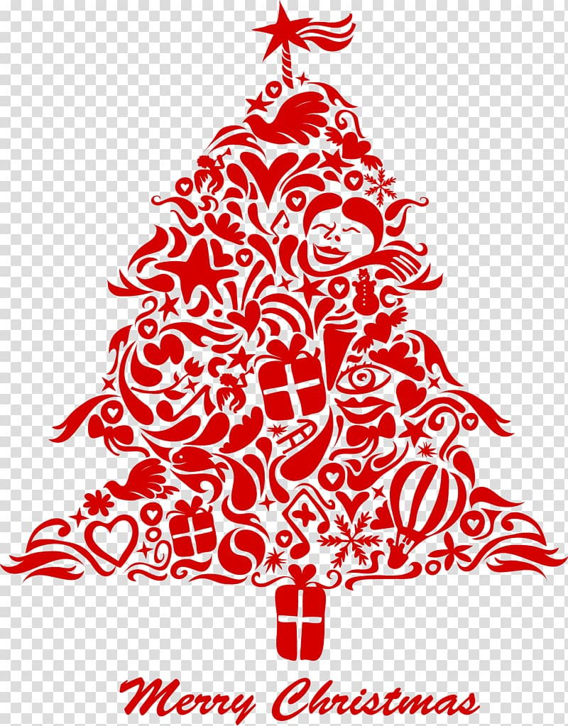 Christmas tree splicing transparent background PNG clipart.
