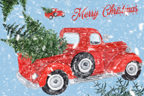 Watercolor Red Christmas Truck Clipart.