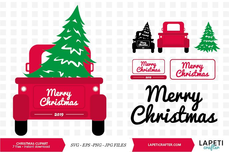Red Vintage Christmas truck with tree svg, eps, jpg, png.