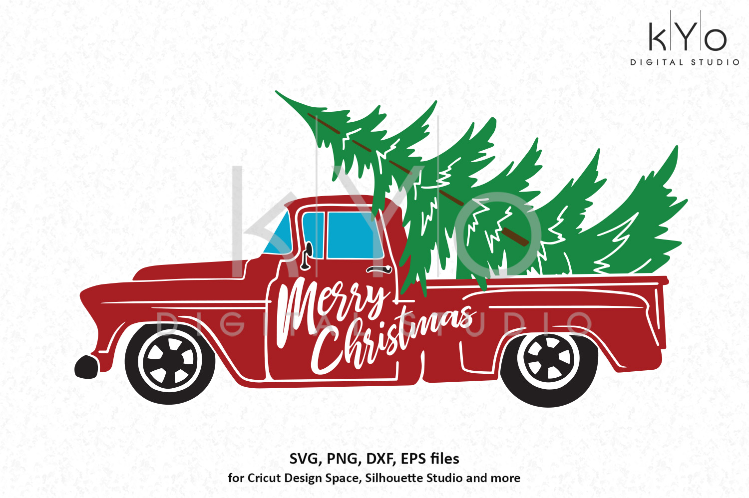 Merry Christmas truck SVG PNG DXF EPS files.
