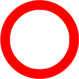 Red circle outline icon.