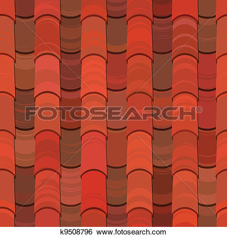 Clip Art of Seamless red clay roof tiles k9508796.