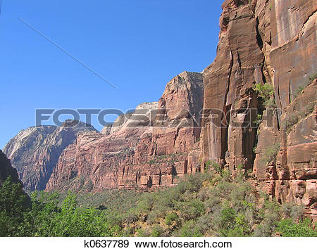 Stock Photograph of Red cliffs, Zion National Park, United States.