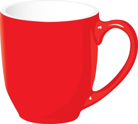 Red cute coffee cups clipart.