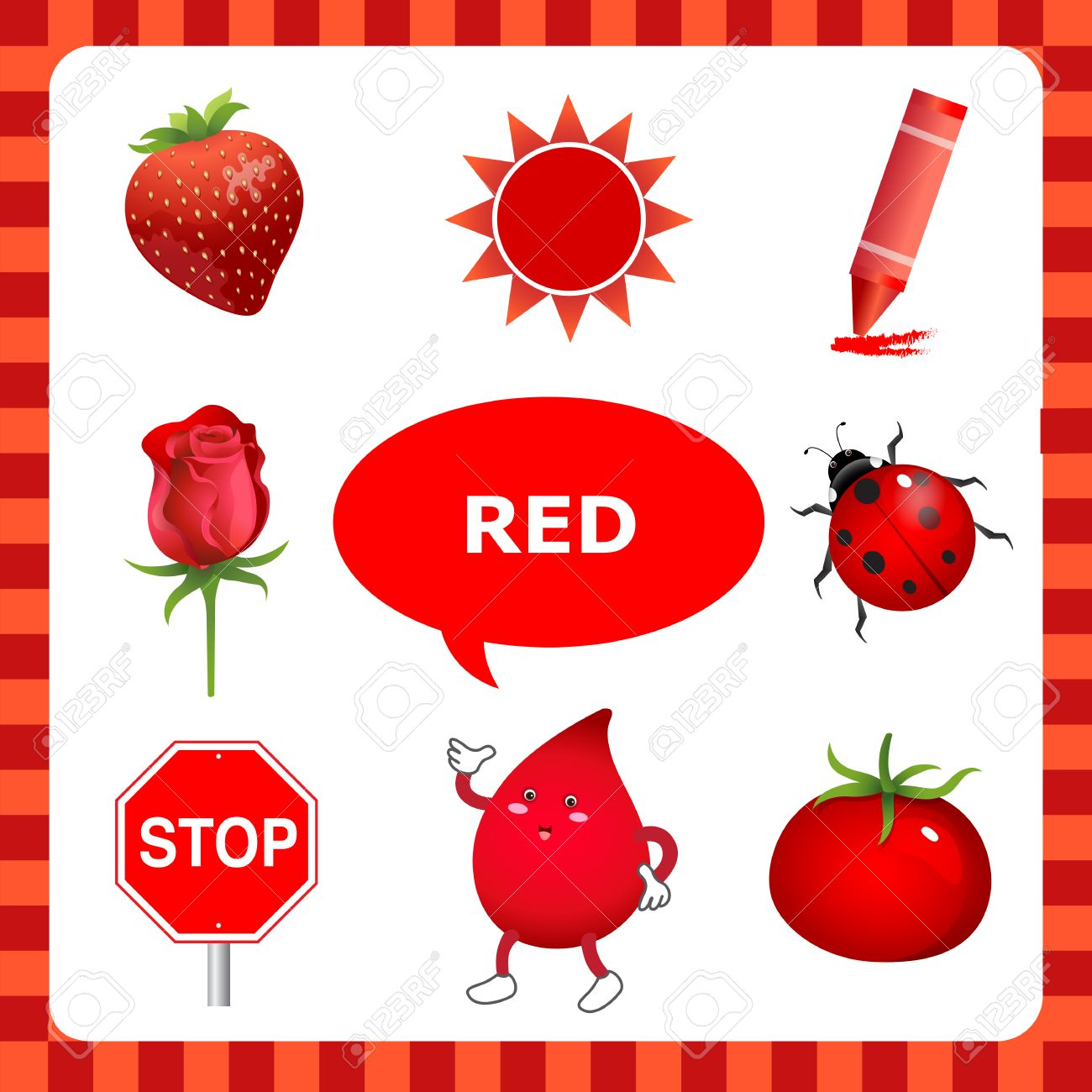 Red Color Objects Clipart.