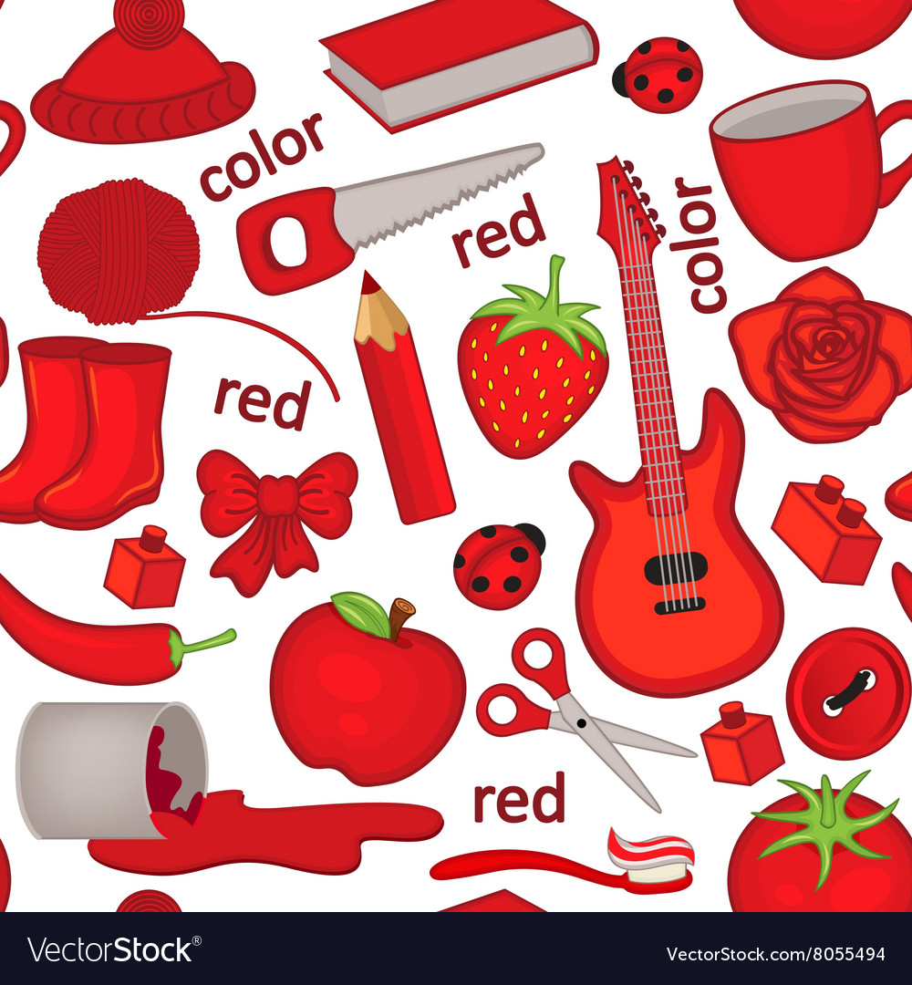 Seamless pattern with red objects.
