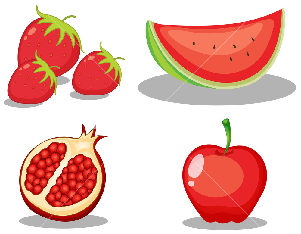 Set of red colour theme fruit on white background Royalty.