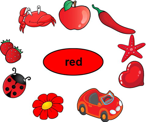 Color Red Worksheets for Kindergarten.