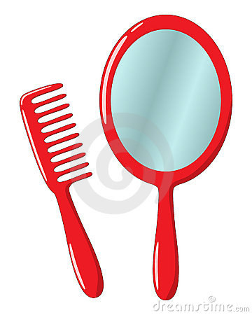 Red Hand Mirror And Comb Royalty Free Stock Photos.