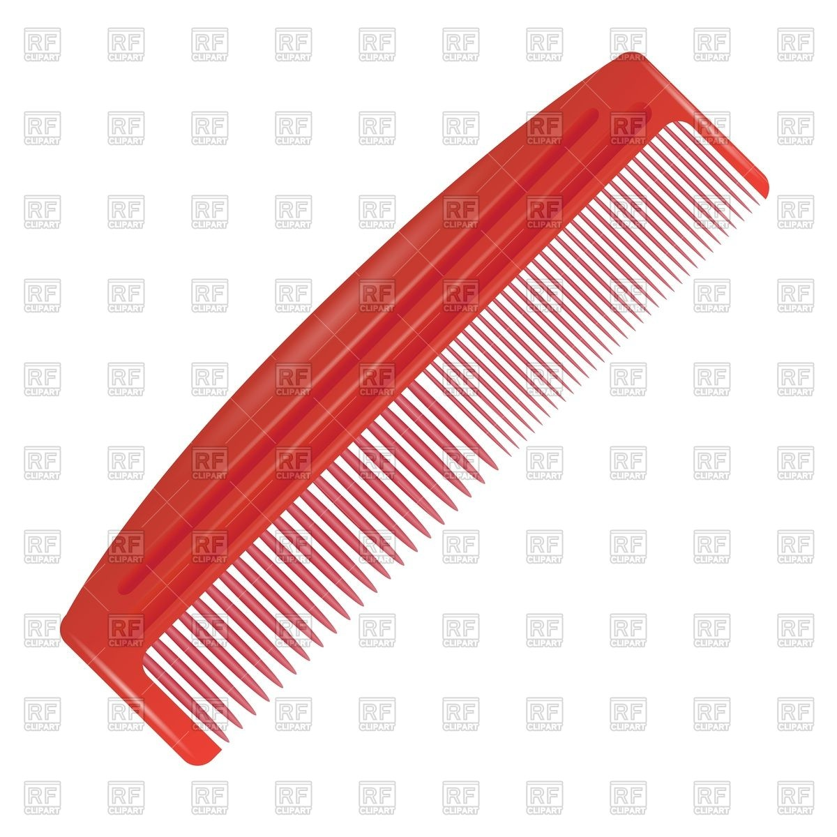 Red plastic comb on a white background Vector Image #47803.