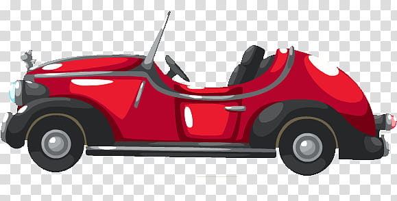 Red convertible illustration transparent background PNG.