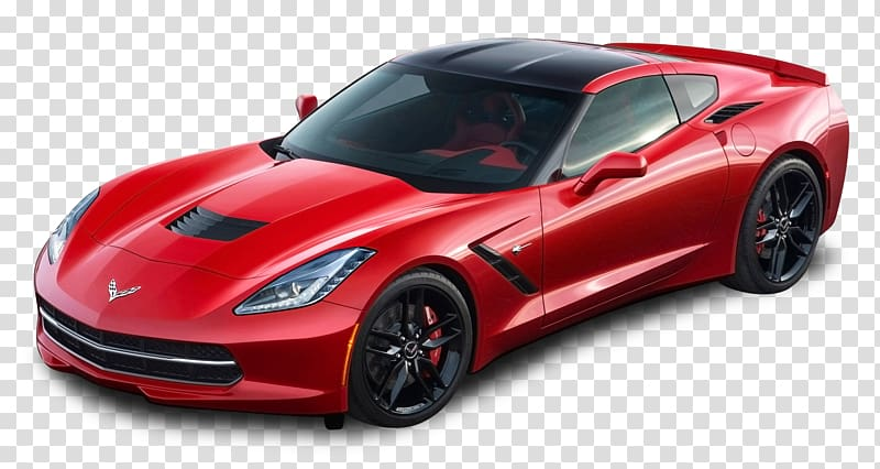 Red Chevrolet Corvette Stingray coupe with blue background.