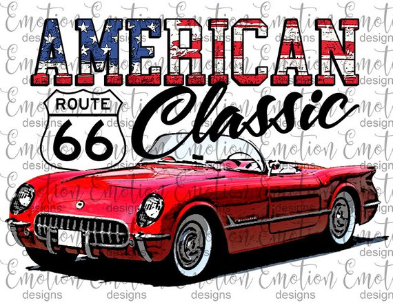 American Classic, vintage red Corvette, instant download.
