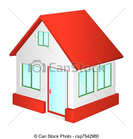 Vector Clipart of House with red roof..