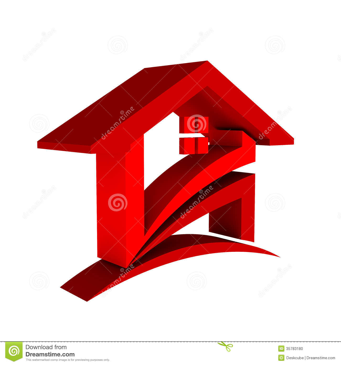 3D Red House With Swoosh Logo Icon Royalty Free Stock Photos.