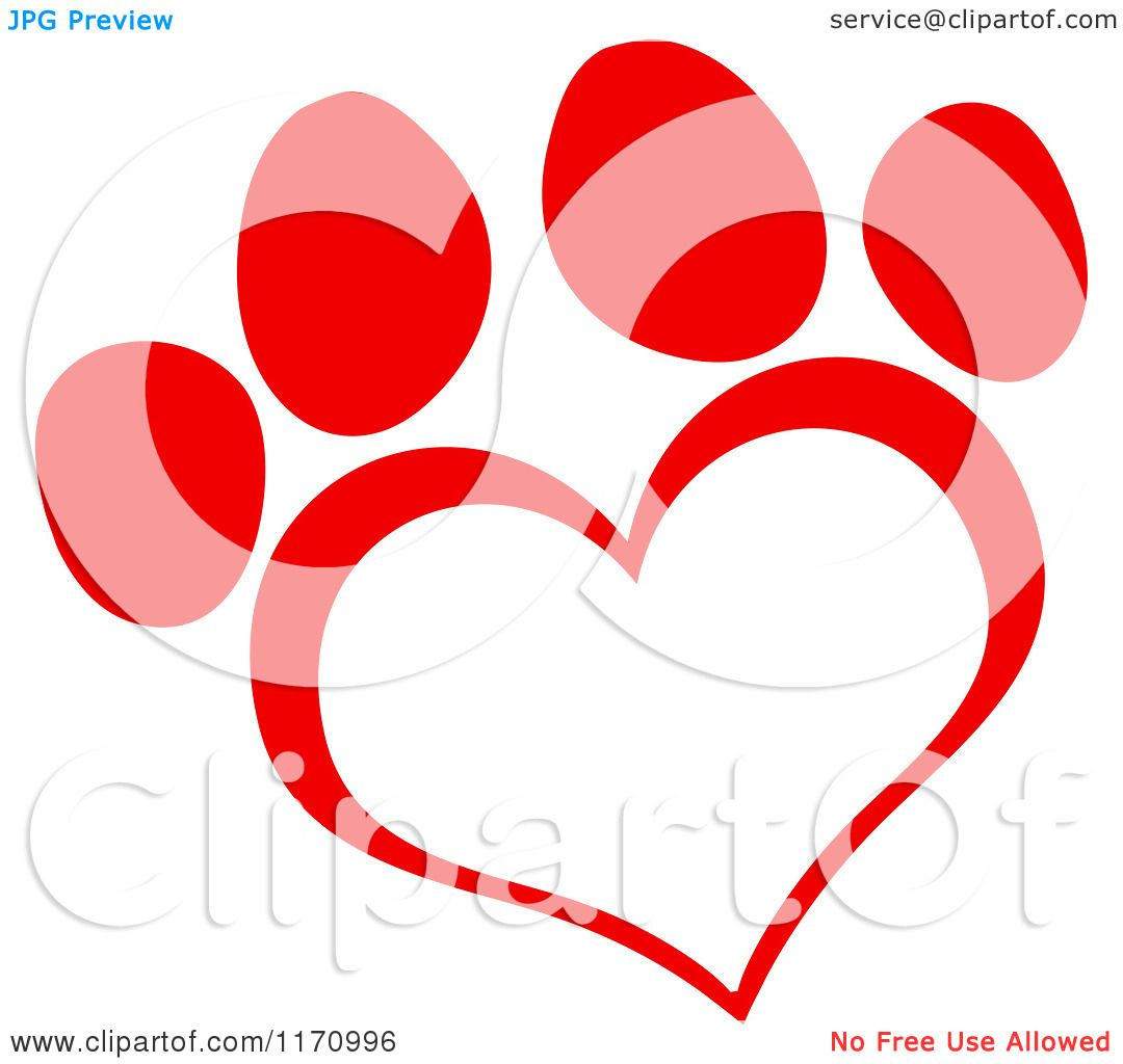 Cartoon of a Red Heart Shaped Paw Print.