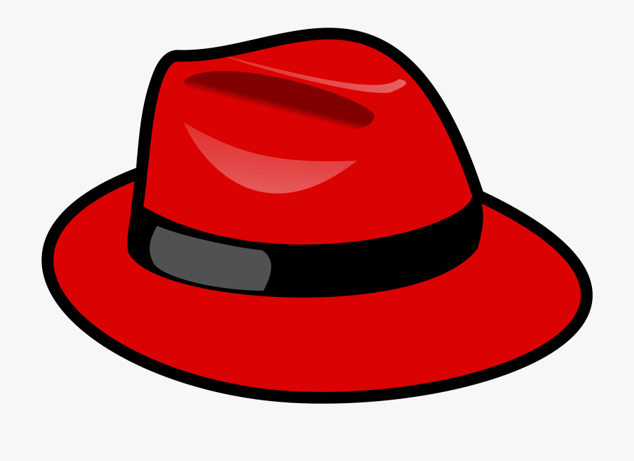 Red Fedora Hat Vector Clipart Image.