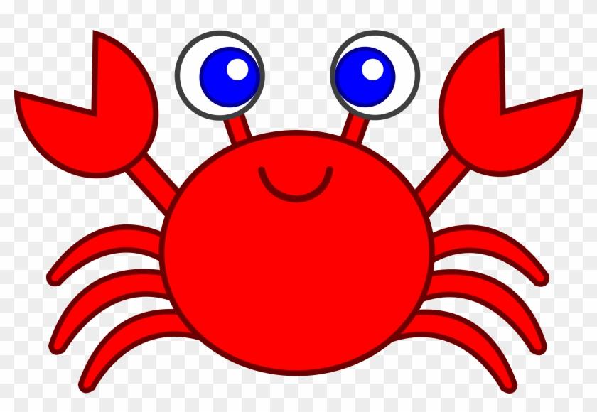 Cute Red Crab Clip Art.