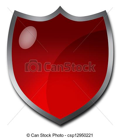 Clip Art of Red badge or crest.