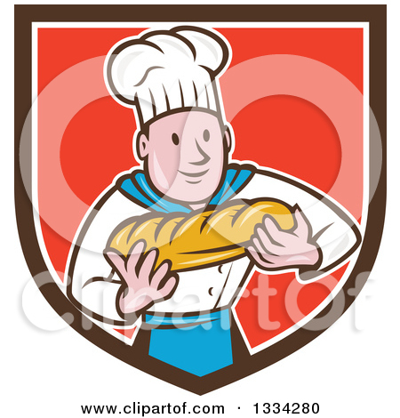 Clipart Of A Retro Loaf Of Breadon A Cutting Board With A Knife.