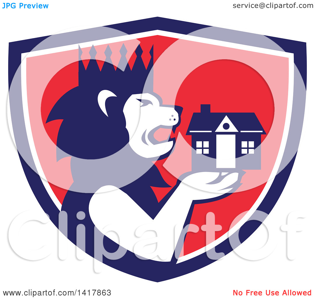 Clipart of a Retro Crowned King Lion Holding a House in a Blue.