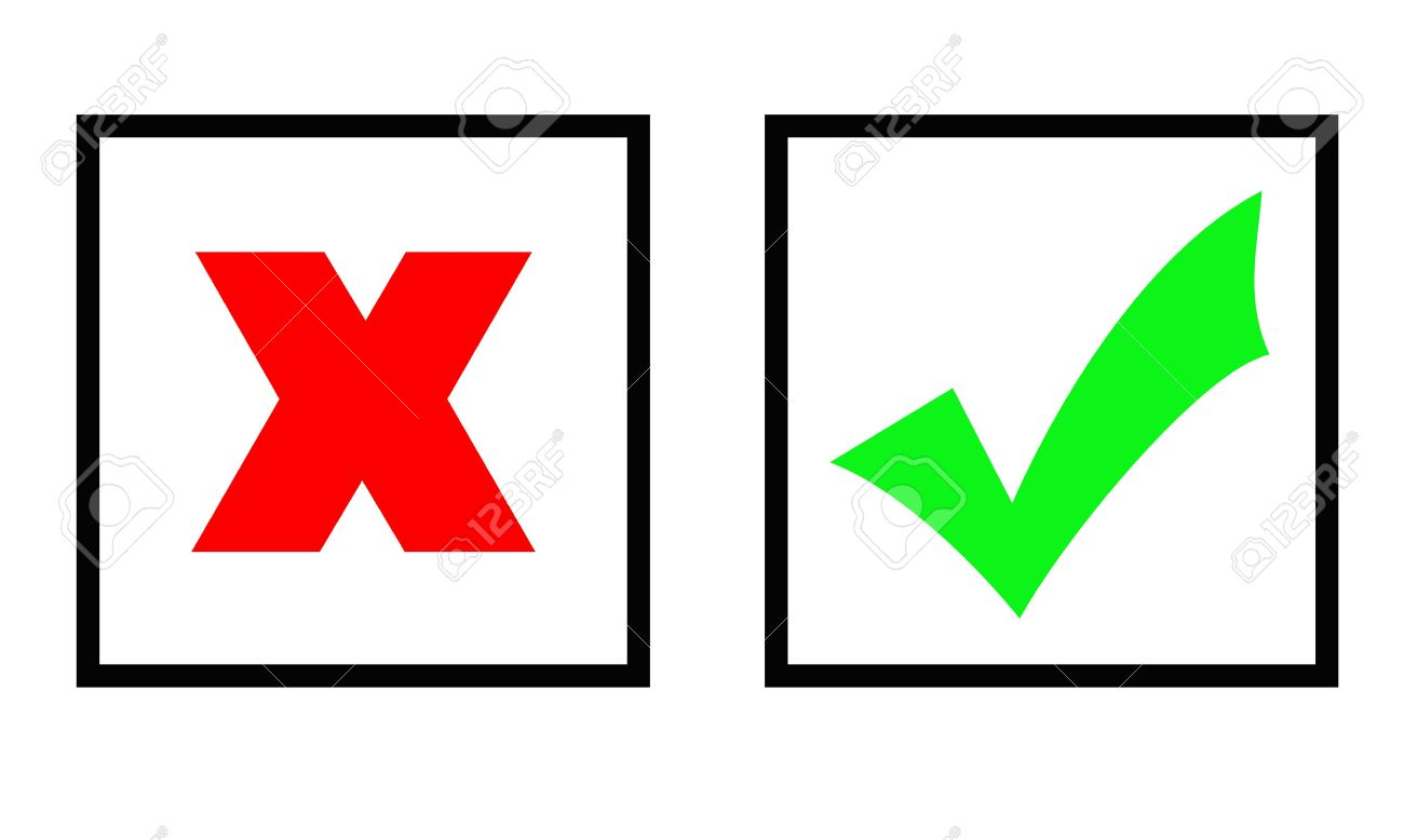 Green Tick And Red Cross Marks In Two Boxes, Isolated Over White.