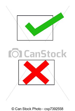 Stock Illustration of Check box with tick and cross.
