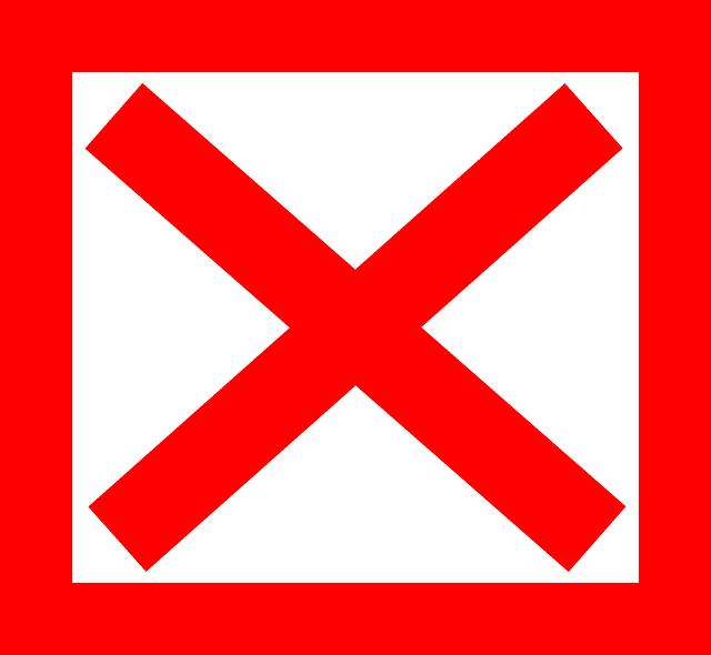 Free vector graphic: Cross, X, Red, Square, Delete.