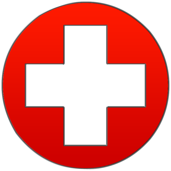 Round red cross symbol clipart image.
