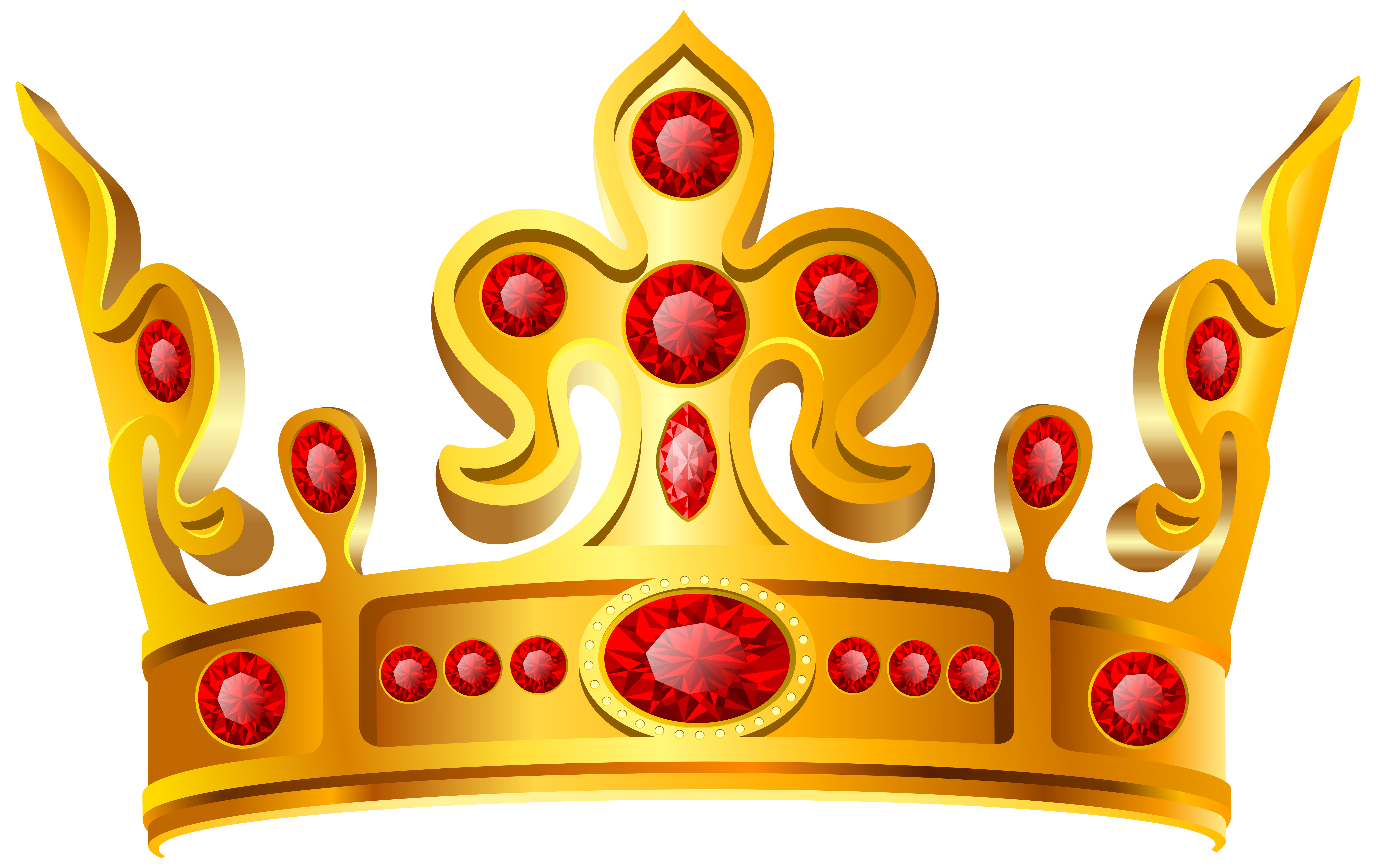Gold Red Crown Transparent PNG Clip Art Image.